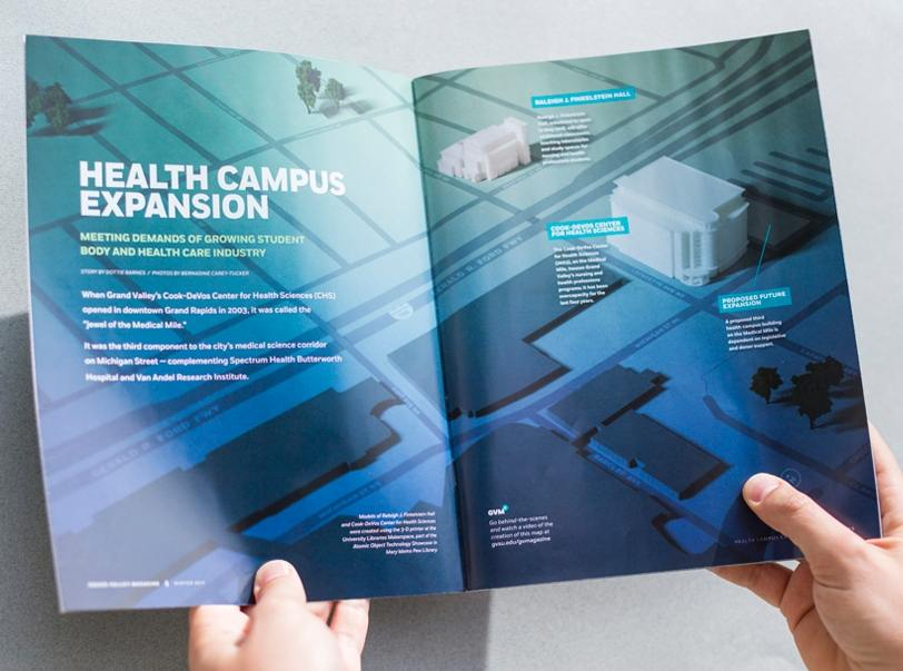 Feature article design in the grand valley magazine